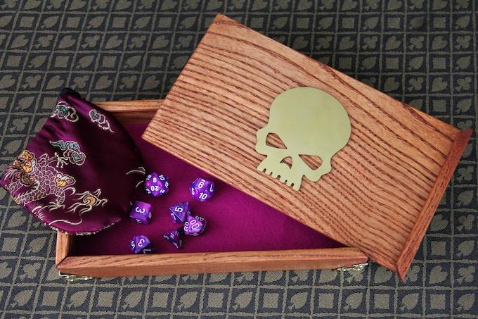 White Ash, Red Oak finish, purple felt, Skull symbol, filigree corners.