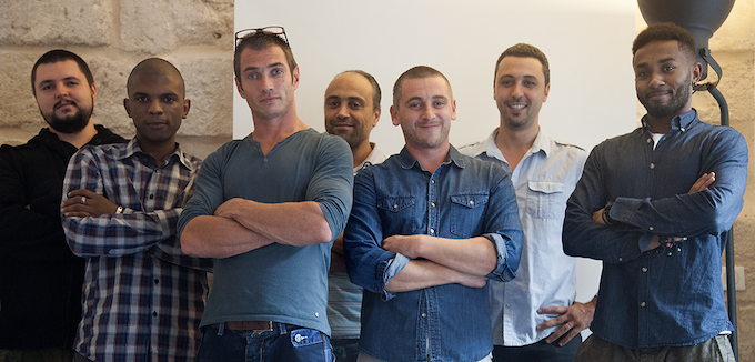 From left to right: Sergey (Developer), Yannick (Graphic designer), Gary (COO & co-founder), Riad (CTO, co-inventor & co-founder), Mike (CCO & co-founder), Yamine (The inventor & founder),Stephane (3D graphic designer).