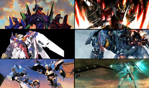 Neon Genesis Evangelion, Tengen Toppa Gurren Lagann, Mobile Suit Gundam series, Pacific Rim, Patlabor and Zone of the Enders