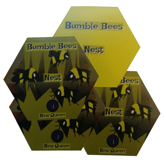 Four Nest mats.  The Nest mats are the hub for each player.  You will connect your Nest Origin card here when you start the game, and lay down Nest Expansion cards.  You will also track if you have a New Queen.