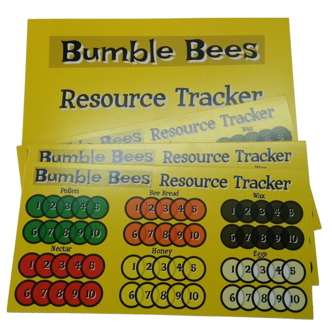 Four resource trackers.  Resources are like your currency.  Your goal is to eventually make your Nest generate resources on its own each turn by Expanding.