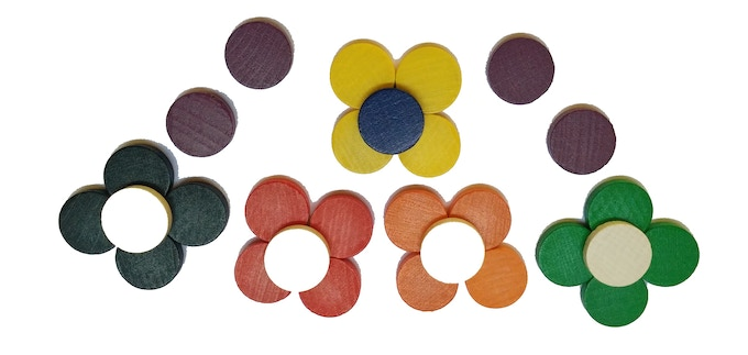 Wooden painted tokens.  These are used to track Resources.  The Blue token is used in conjunction with the Turn Tracker for Solo and Timed play.