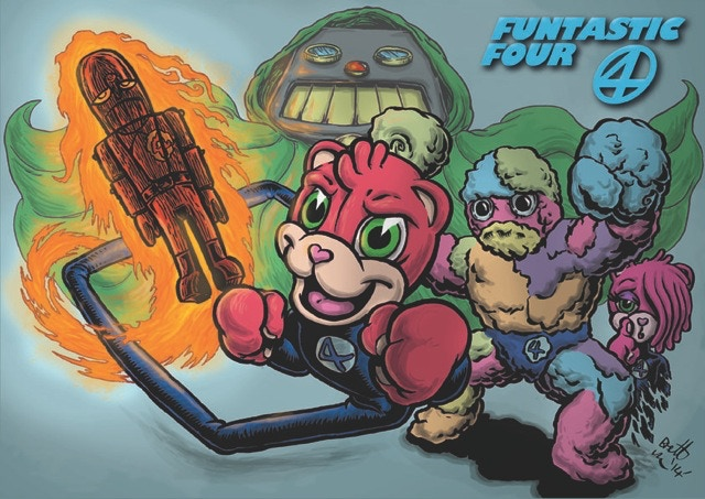 Characters from Brett Uren's Torsobear as the Funtastic Four