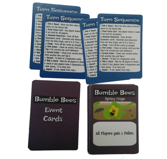 Each player will have a handy Turn Sequence card.  Event Cards cause random conditions at the start of each turn.  Some of them will be beneficial, and some will have negative consequences.