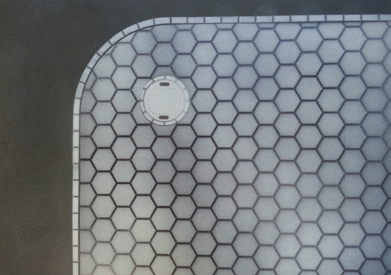 HS-01 - Hex Paving --This HS Stencil provides a large hex grid area for making a hexagon paving pattern suitable for 28mm scale, and would suit many sci-fi games. The stencil also incorporates optional edging, and man holes.