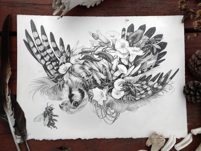 "SOLD ""Hawk"" - 3/6 of the originals available as a $950 or more reward. (This image also appears in the book!)"