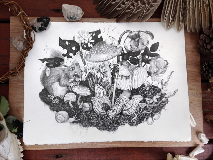 """Mushroomscape"" - 5/6 of the originals available as a $950 or more reward. (This image also appears in the book!)"