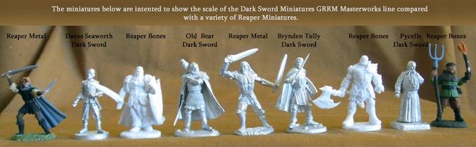 Male Miniature Sizes Comparison between Dark Sword Miniatures and Reaper Miniatures
