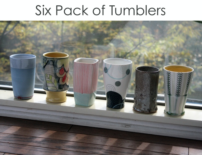 Each tumbler is hand made by a different member.  The colors & patterns will vary, so no two six-packs will be exactly the same. This is a great way to get a handmade piece of pottery by every member of the collective!