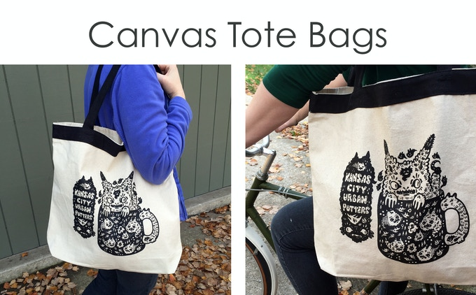 "These lovely heavy-duty canvas tote bags are perfect for going to the market!  Each one has a screen-printed image designed especially for KC Urban Potters by Sage Perrott of Haypeep.   They are 16""x17.5"" with generous 23"" straps."