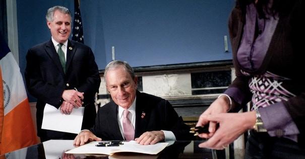 Former Mayor Michael Bloomberg signing the biodiversity bill.