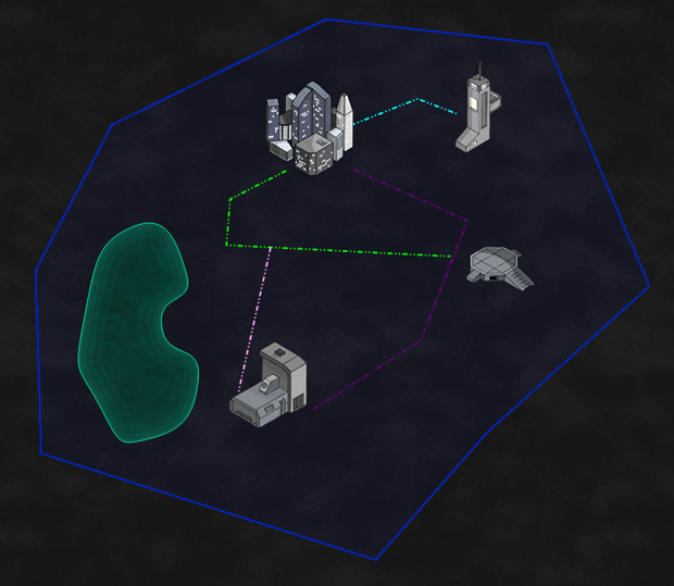 Early preview of a sci-fi style map and artwork.