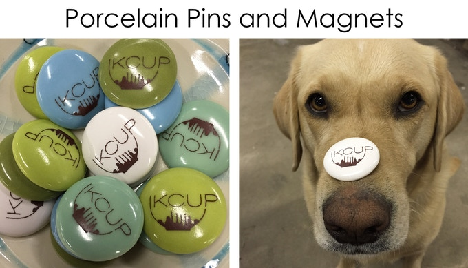 These porcelain magnets and pins are just about 1.5 inches across. They are glazed in different colors and they have the KCUP logo on the front. No dogs were hurt in the making of this image!