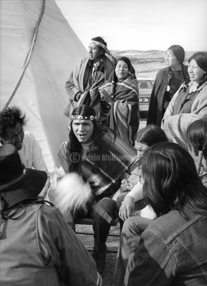 Drum circle at Wounded Knee, 1973