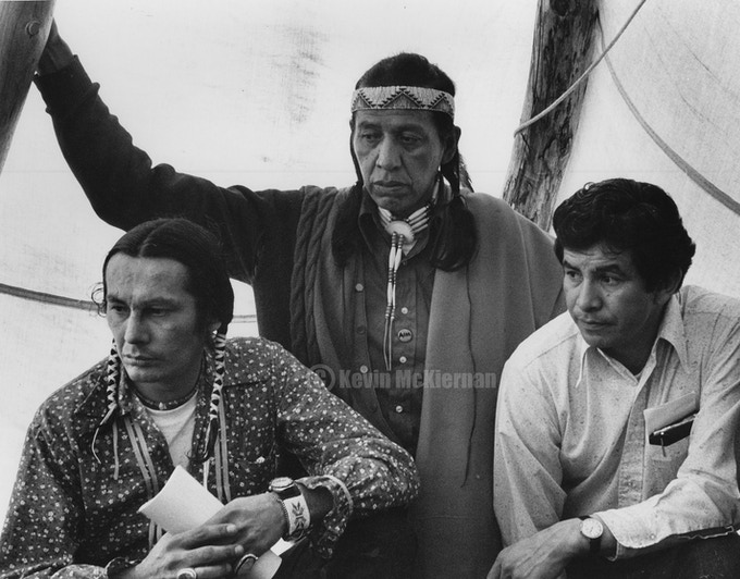 AIM leader Russell Means, medicine man Wallace Black Elk and Lakota leader Pedro Bisonnette