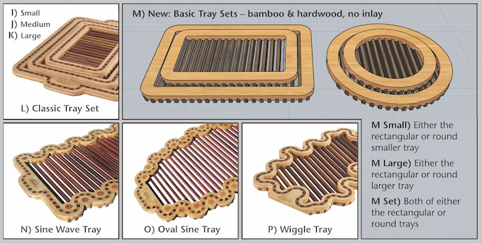 "Above: Serving Trays which flip over to be trivets or cooling racks for baked goods. More info and pictures in ""Catalog of Rewards"" section below and at WalterDill.com."