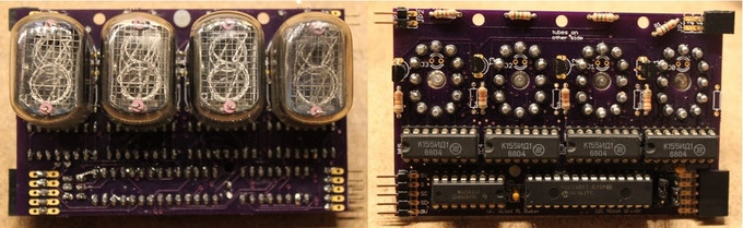 Nixie Display Boards, Front and Back View