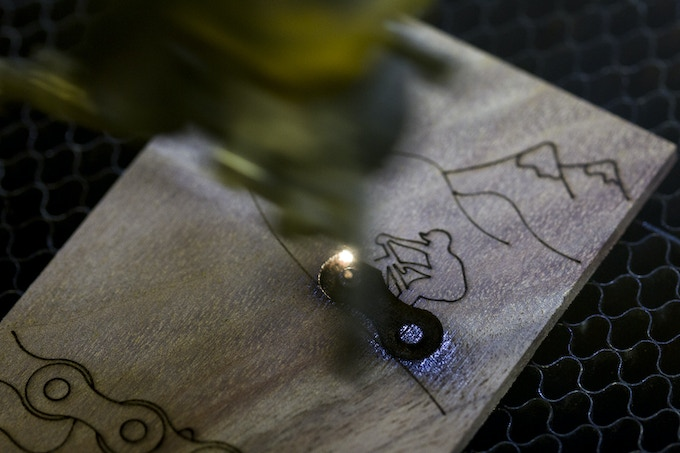 After we process the wood we laser etch in a design