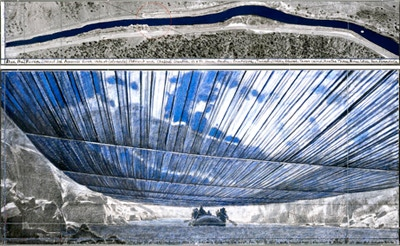 Christo and Jeanne-Claude: Over The River, Project for the Arkansas River, State of Colorado, 28 x 72 in., signed