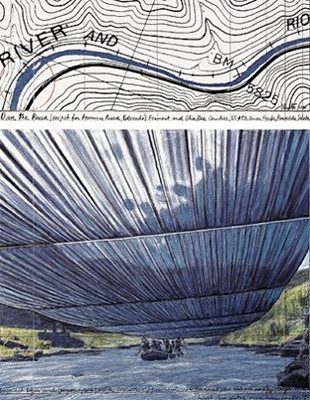 Christo and Jeanne-Claude: Over The River, Project for the Arkansas River, State of Colorado, 23.5 x 31.5 in., signed