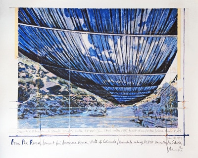 Christo and Jeanne-Claude: Over The River, Project for the Arkansas River, State of Colorado, 27.5 x 23.5 in., signed