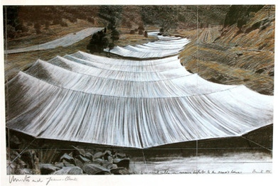 Christo and Jeanne-Claude: Over The River, Project for the Arkansas River, State of Colorado, 20 x 30 in., signed