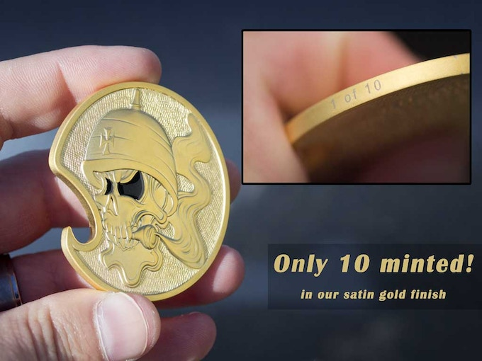 solid brass motorcycle creed challenge coin bottle opener by never stop tops coins kickstarter. Black Bedroom Furniture Sets. Home Design Ideas