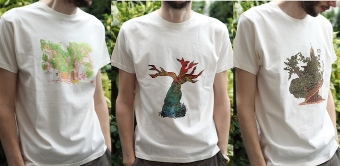 """Amelia's Magazine hand screen-printed t-shirts, the sizing comes up quite large (this shows small on a 38"""" chest)"""