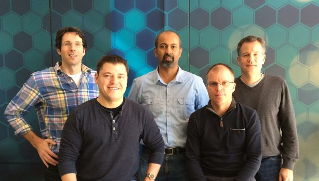 (L to R) Martin Forest, CTO & co-founder, Arvind Baliga, COO & co-founder, Jack Gundlach, Director of UX, (seated) Alexei Erchak, CEO & co-founder, Mike Denninger, Principal Engineer