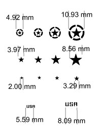 This is a line drawing showing the sizes of stars the Allied Stars set makes. The full stencil set is 3x A5 sized. ( you can see it shown in the main video, and a video of use is coming soon.