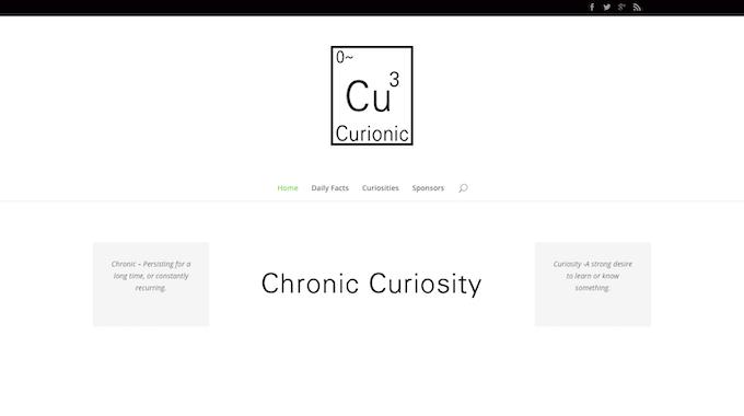Logo, Menu, and explanation of Curionic