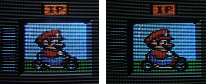 Photo of CRT Screen. Composite (left) vs. Component (right)
