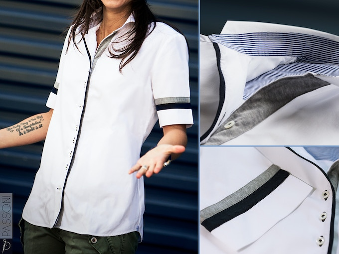 TANCREDI shirt. A detail packed summer shirt. Jersey varsity blue and grey stripes; mini white and blue striped interior collar and yoke; French spread collar and optional monogrammed initials.