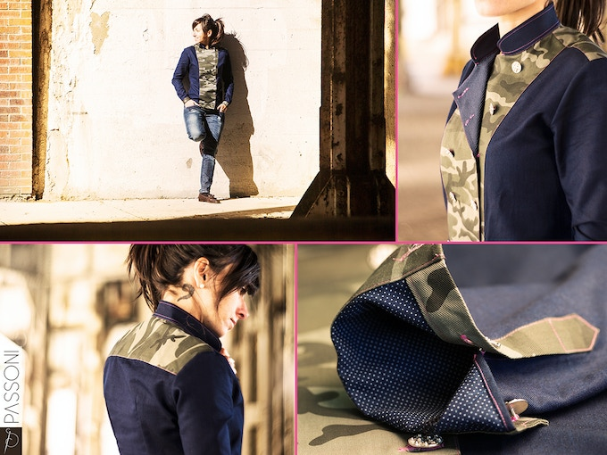 NICCOLO' shirt. A reinterpretation of the chef jacket. Dark blue denim mixed with camouflage center flap and back yoke. Hot pink stitching and metal buttons.