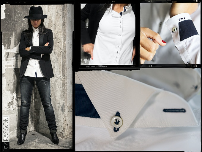 LAPO shirt. The tuxedo shirt you have always dreamed about. Plus the details (blue cotton ribbon inserts) that make it stand apart from all other tuxedo shirts.