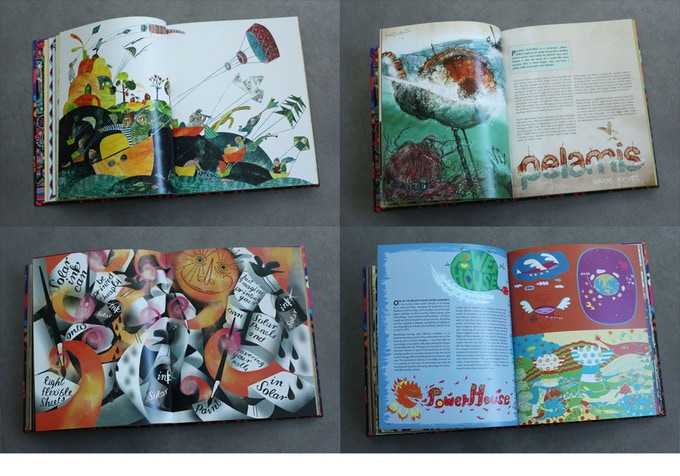 Pages from Amelia's Anthology of Illustration. The 264 page book has an embossed hardcover.