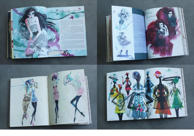 Pages from Amelia's Compendium of Fashion Illustration. The 264 page book has a pearlescent soft cover.