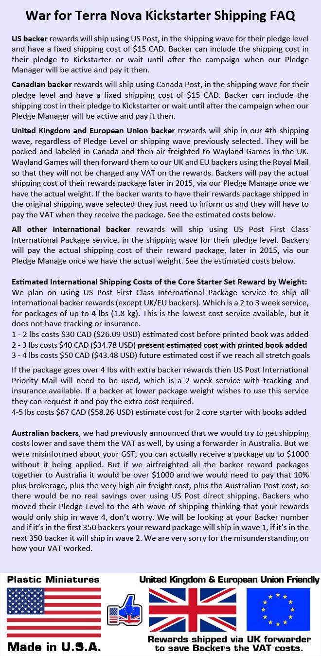 War for Terra Nova Kickstarter Shipping FAQ.