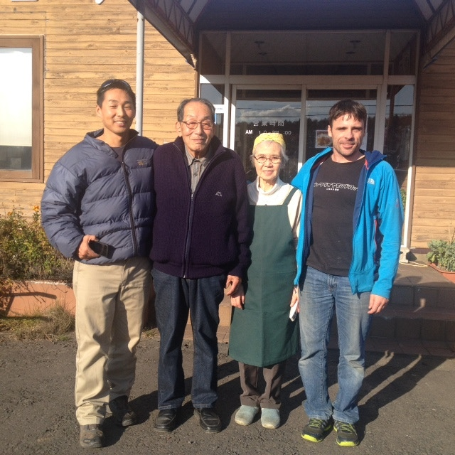 Makoto Koizumi and Clayton Kernaghan meet helicopter entrepreneur Horiuchi-san and his wife. The 86-year-old Horiuchi-san worked alongside Gaman-saan to create the first helicopter operation in Hokkaido more than 30 years ago.