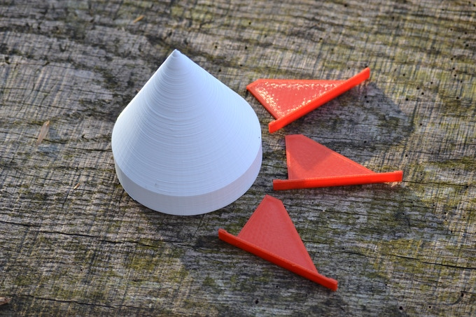 Stretch Goal Nose Cone and Fins (Actual Parts Will Be Injection Molded)