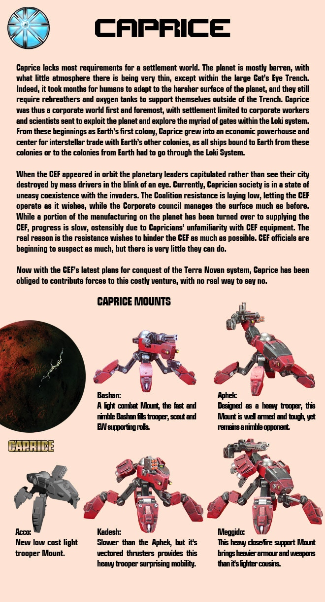 Information on Heavy Gear's Caprice Faction.