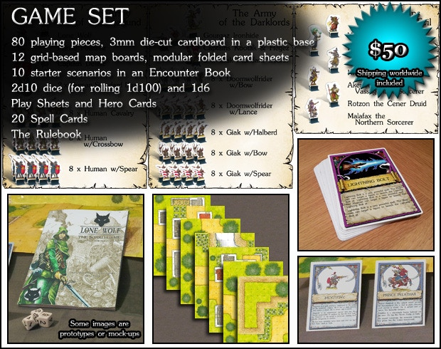 GAME SET: Box with full playable copy of Lone Wolf - The Board Game, written and illustrated by Gary Chalk ($50)