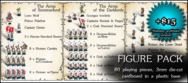 FIGURE PACK: Another copy of the 80 cardboard figures and plastic bases that come with the game, good for playing extra-large battles (add $15)