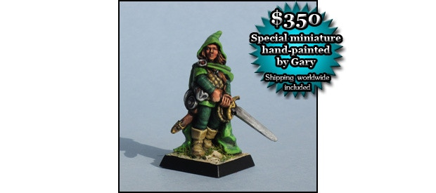 HAND-PAINTED MINIATURE (includes GAME SET): Gary Chalk will hand-paint for you one 28 mm miniature of Lone Wolf the Kai Lord, as sculpted by Gary Morley from Gary Chalk's design ($350)
