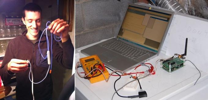 Evan with Early Sensor; Early Test Setup