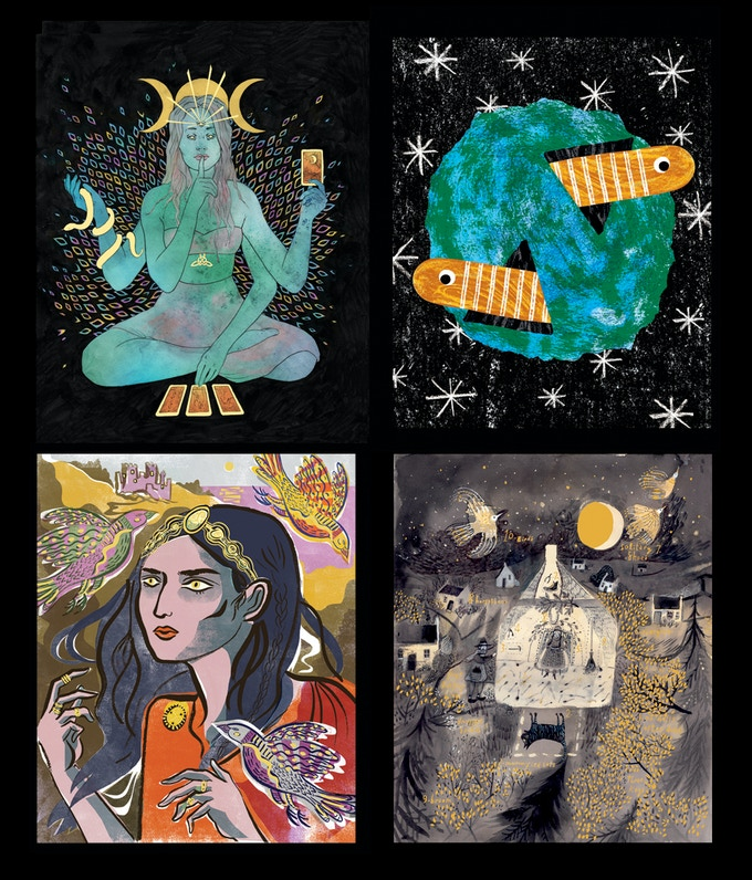 Example artwork from That Which We Do Not Understand (clockwise from top left) by Laura Wilson, Adam Corns, Sarah Tanat-Jones and Dorry Spikes