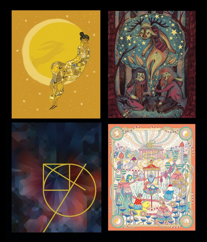 Example artwork from That Which We Do Not Understand (clockwise from top left) by Emma Farrarons, Maia Fjord, Sarah Parris and Yoko Furusho