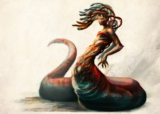 Early concept of Medusa