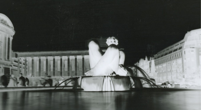 A negative print straight from a pinhole camera. Our obscura prints will look similar. We think.
