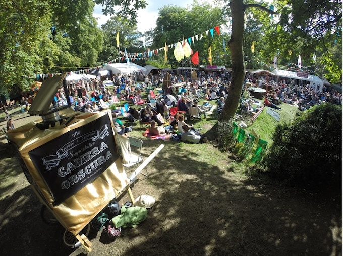 The first camera obscura at Moseley Folk Festival in 2014.